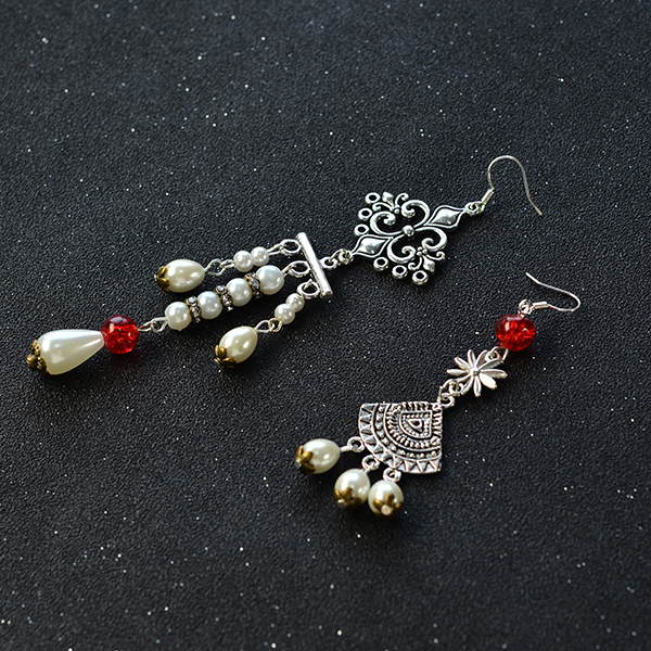 Picture of Now, Let's See the Final Look of the Asymmetry Vintage Style Drop Earrings.