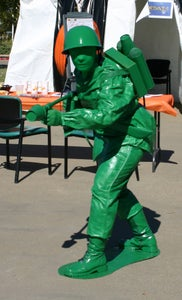 Plastic Green Toy Soldier With Flamethrower Costume