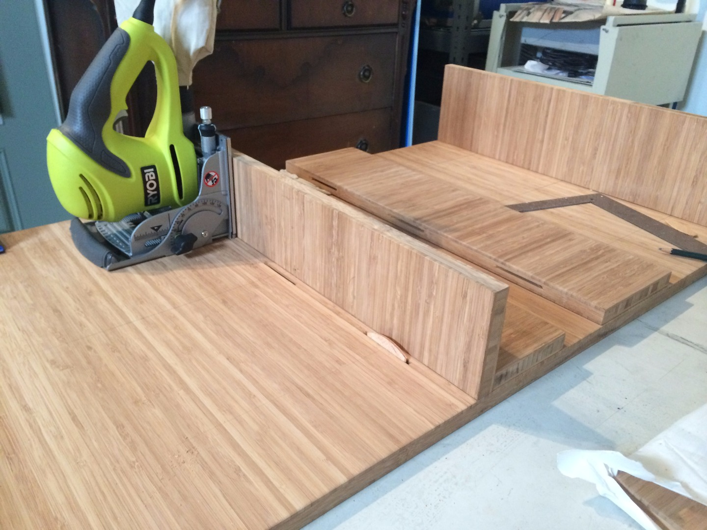 Picture of  Cutting Biscuit Joints Into Table Top, Bottom and Sides.