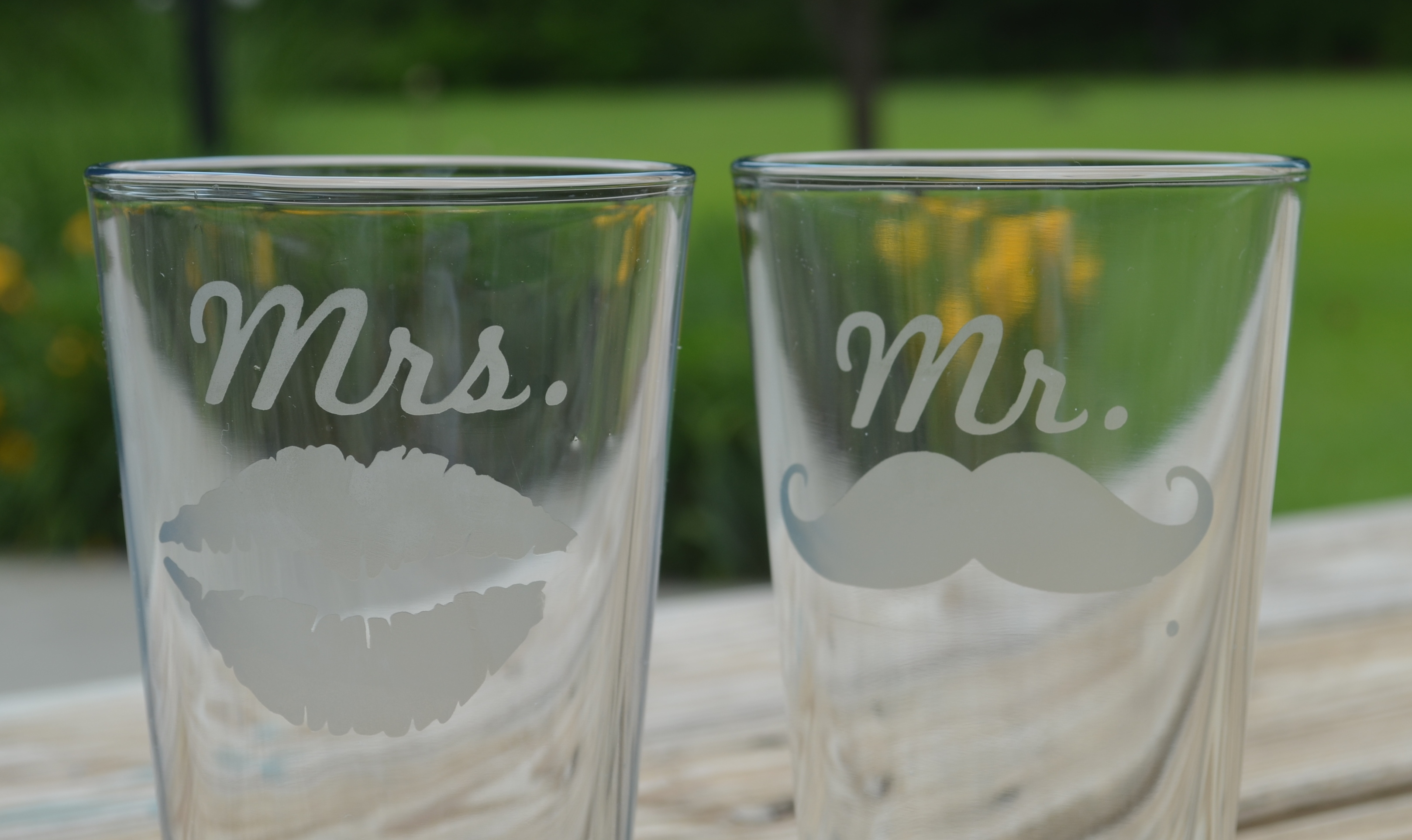 Picture of EASY DIY Mr & Mrs Etched Glasses
