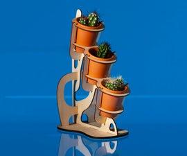 Laser Cut Cactus Planter