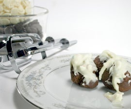 Fluffy Truffles with a Candy Cane and White Chocolate Icing