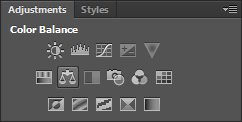 """Picture of Click Color/ Balance in the """"Adjustments"""" Panel and Set Parameters."""