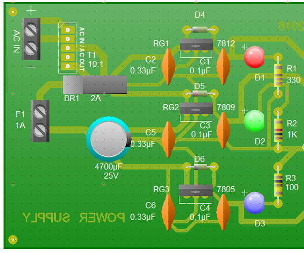 Tri-Regulated 1A Power Supply