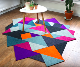 Recycled DIY Tangram Inspired Modular Carpet