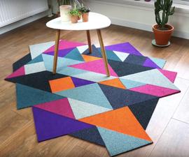 Recycled DIY Tangram Inspired Modular Carpet