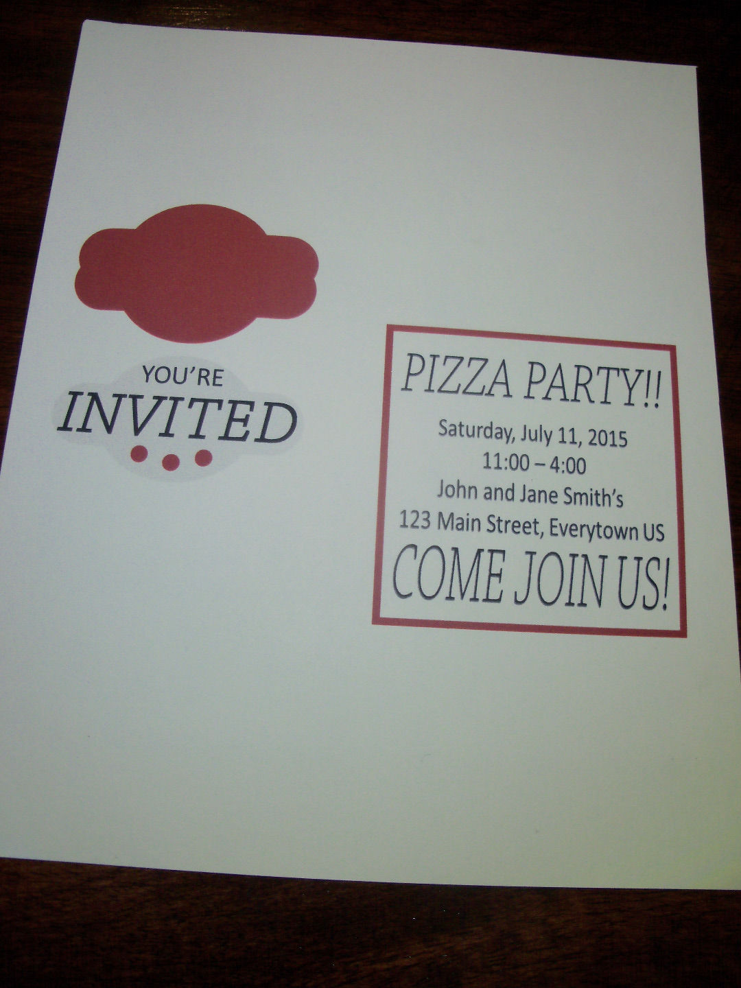 Picture of Print and Cut Out Invitation Design