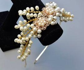PandaHall Original DIY - How to Make a Wedding Headband With Pearl Beads and Rhinestones
