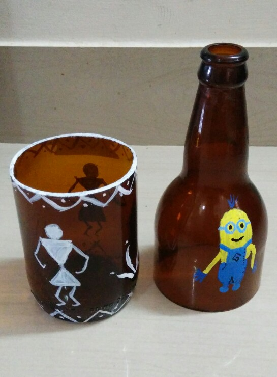 Picture of Glass Bottle Cutter and Warlis Art