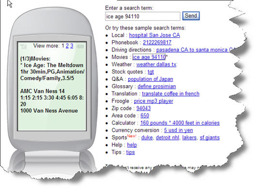 Picture of Google SMS