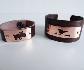 Bracelet with copper plate in wood or in leather