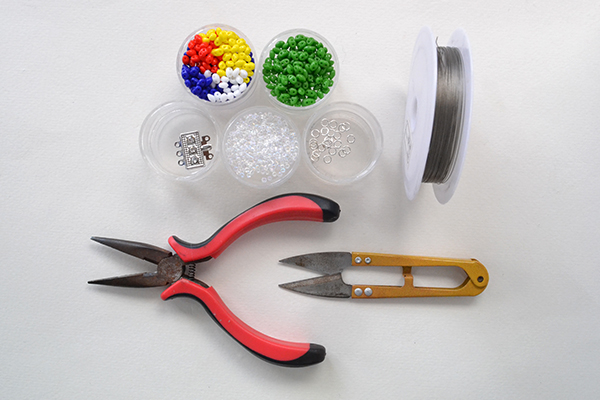 Picture of Supplies Needed in Making the Handmade Rainbow Beaded Bracelet:
