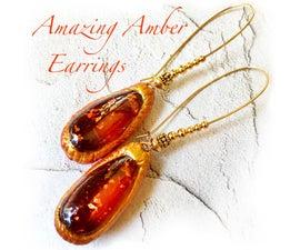 Orange & Gold - Beautiful Amber Tear Drop Earrings