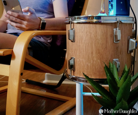 DIY Real Wood Drum Side Table With Smart Light