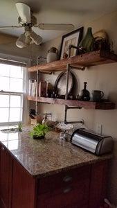 Reclaimed Wood & Galvanized Pipe Shelves