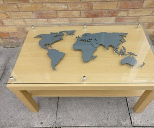 Backlit World Map Coffee Table