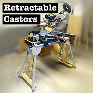 Retractable Castors for a Mitre Saw