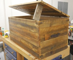 Rustic Pallet Wood Trunk With Hidden Compartment