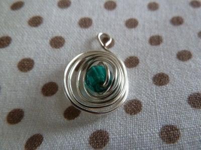 Swirly Wire Encased Bead Pendant