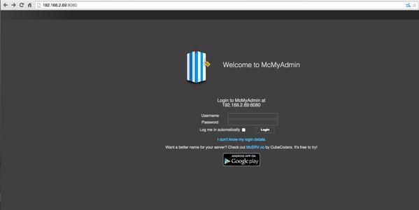 Configure McMyAdmin