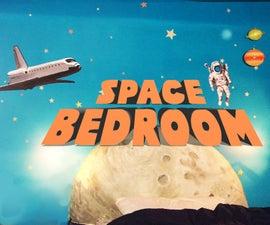 Space Bedroom With Glow-In-The-Dark Moon Headboard