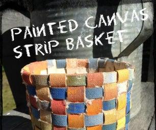 Painted Canvas Strip Basket