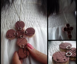 Wine-Stained-Cork Cross Necklace