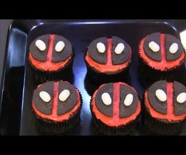 Deadpool Strawberry Filled Cupcakes