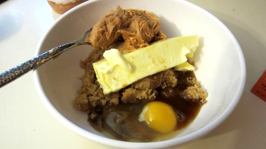 Mix Sugar, Egg, Vanilla, Peanut Butter, and Butter