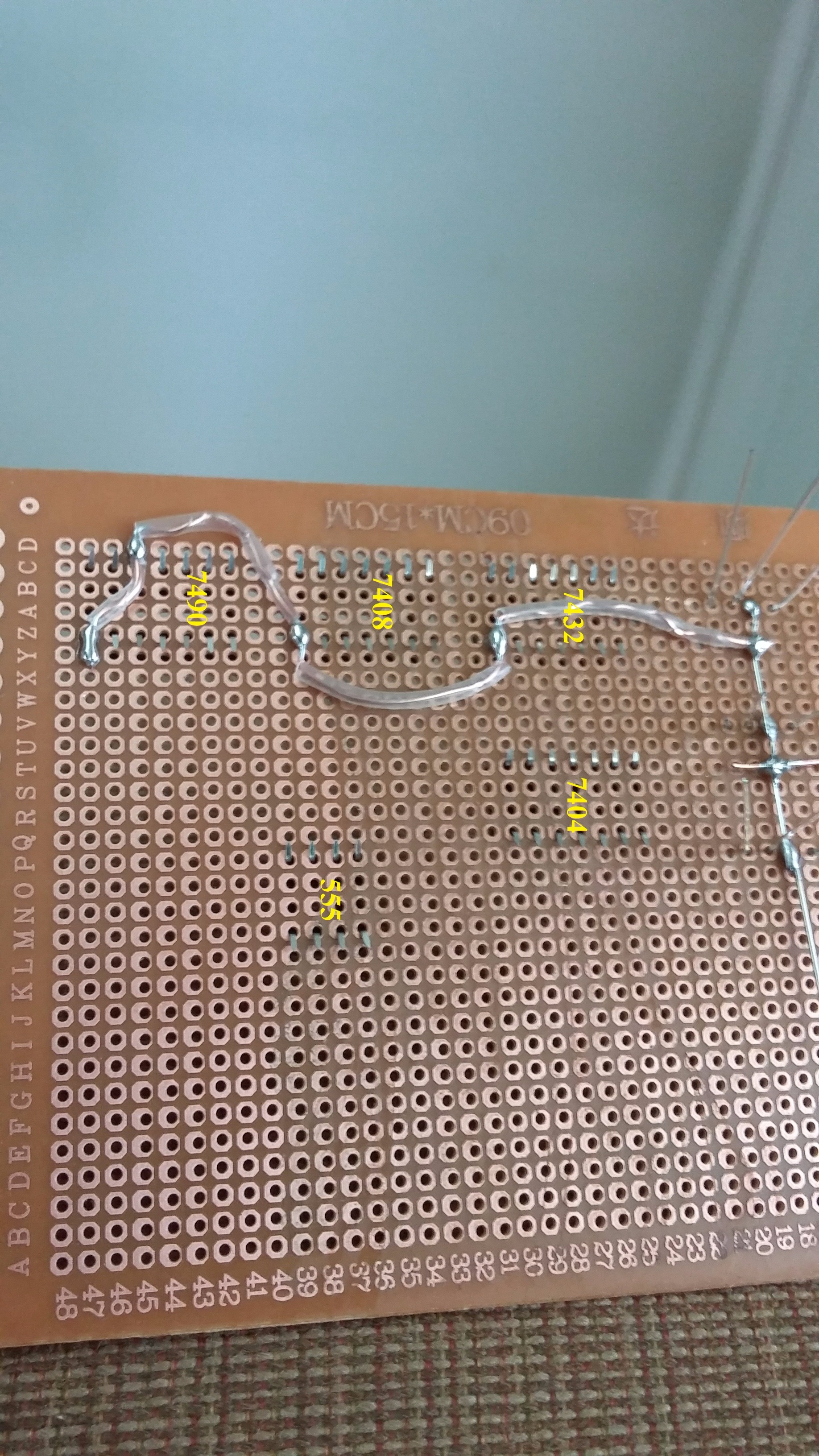 Picture of LED's Cathodes to IC Sockets