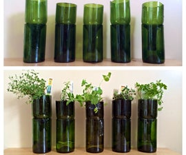 Upcycled Wine Bottles Into Indoor Herb Planters