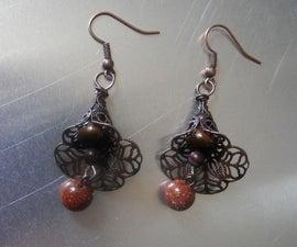 Goldstone Flower Earings