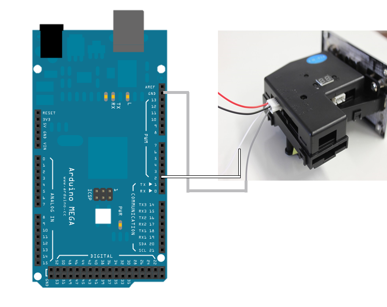 Picture of Connect Multi-Coin Acceptor to Arduino Mega