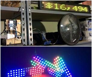 Kickstarter Backer Alert With Stats Scroller, Using Arduino Yun