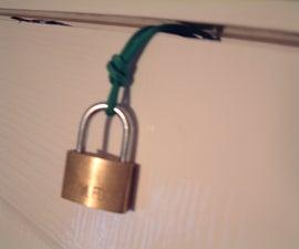 Lock a door using paracord