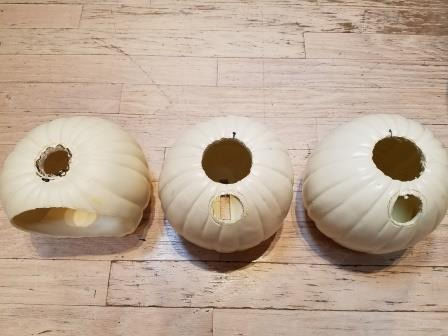 Picture of Cut Hand and Tube Holes in Pumpkins