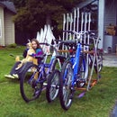 Bicycle Rack From Old Skis and Ski Poles