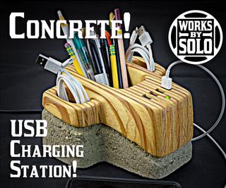 Concrete USB Charging Hub With Storage