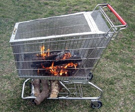 Portable fire pit with built in log storage rack.
