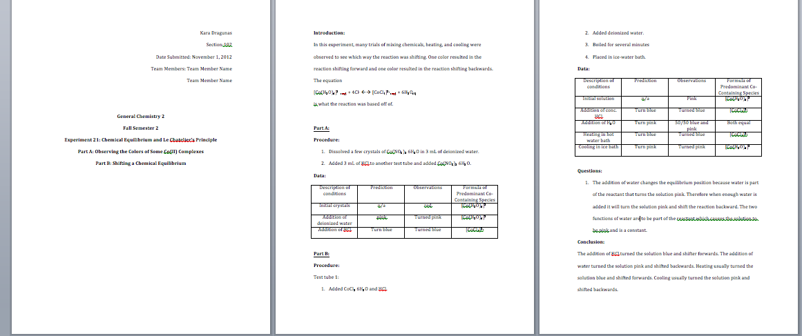 Write a lab report step by step