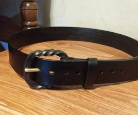 Leather Belt with a Forged Buckle.
