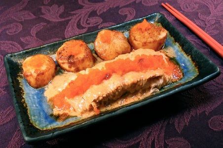 Salmon With Capelin Roe, Sea Scallops, and Pumpkin Pie - Orange Day Dinner