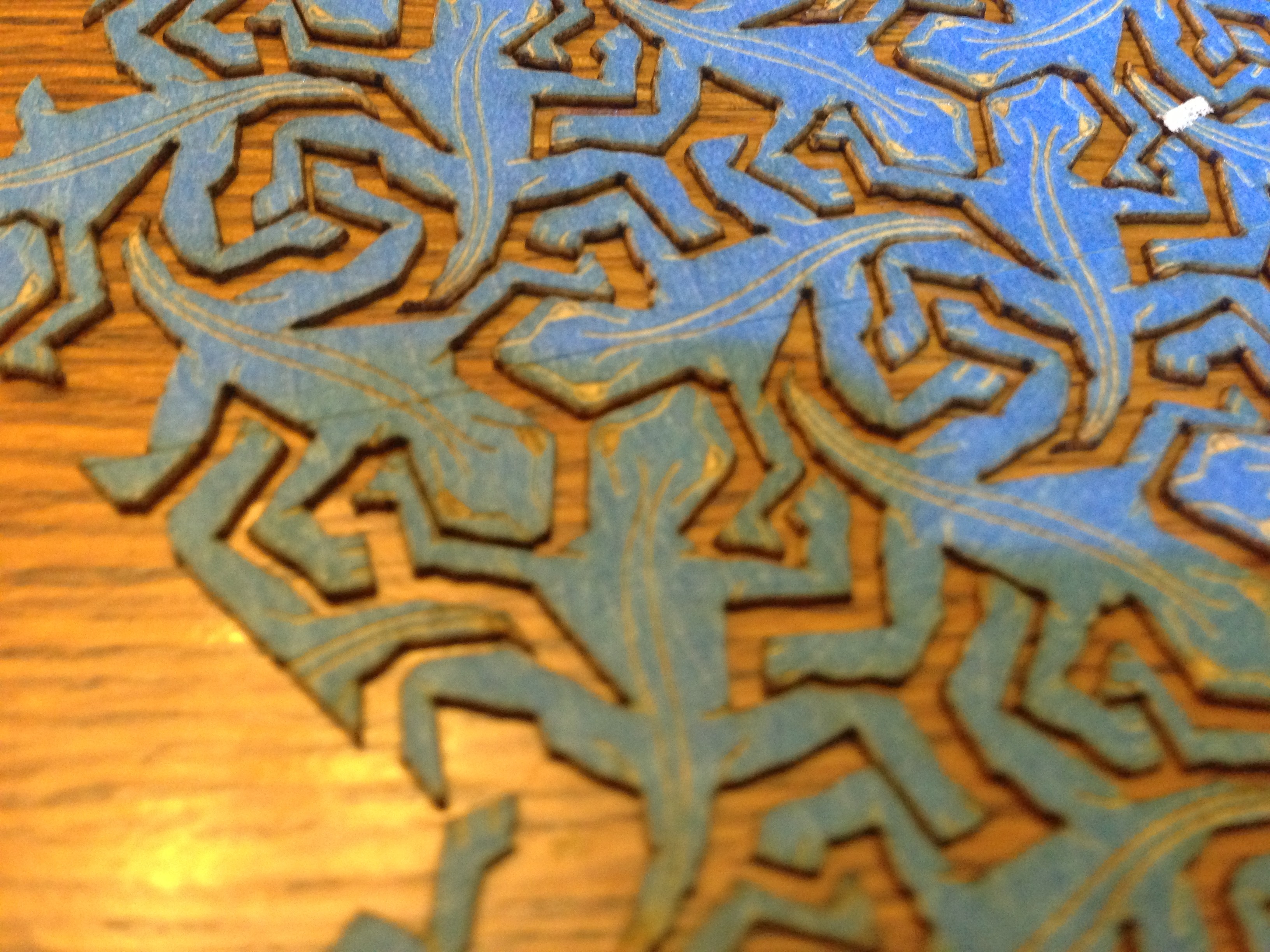 Picture of Wood Inlay MC Escher Reptiles Motion Art (part 1/2)