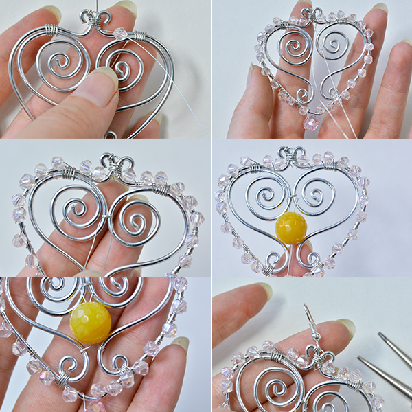 Picture of Add the Beads and Finish the Wire Wrapped Heart Earrings