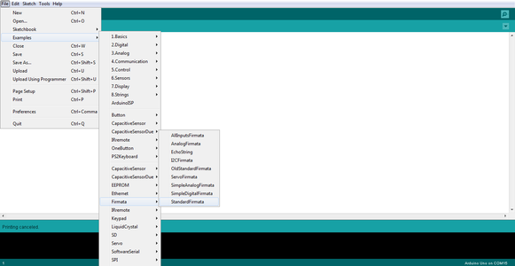Uploading Standard Firmata to Arduino