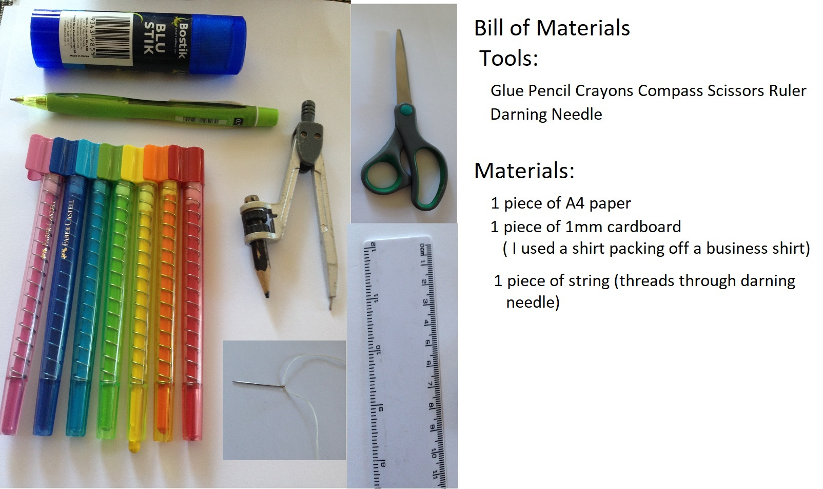Picture of Bill of Materials and Tools Needed