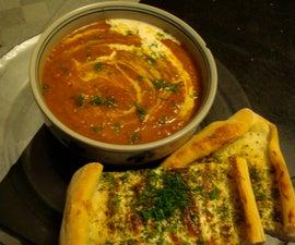 Creamy Tomato Dill Soup with Georgian Cheese Flatbread
