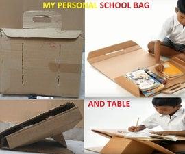 School Bag Cum Study Table From Waste Carton Box.