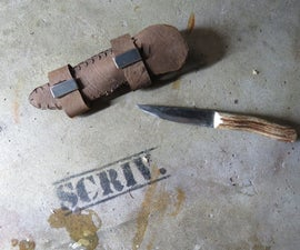 Bushcraft knife with deer antler handle + sheath!