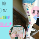 Rainbow Striped Jeans Remake